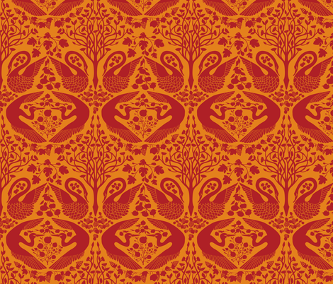 The Garden of Earthly Delights - Crimson/Orange fabric by ceciliamok on Spoonflower - custom fabric