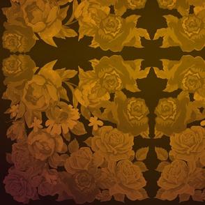 camo roses-orange/brown ombre