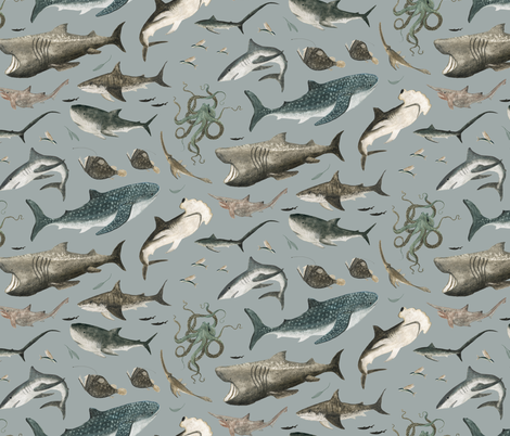 sharks in denim blue! fabric by katherine_quinn on Spoonflower - custom fabric