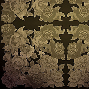 camo roses-orange/brown gritty