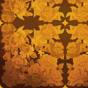 camo roses-orange/brown yesterday-color gold
