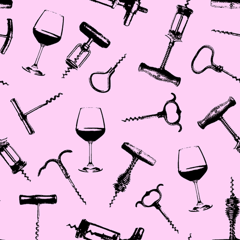 Wine Tasting // Pink fabric by thinlinetextiles on Spoonflower - custom fabric