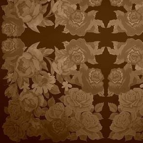 camo roses-orange/brown sepia