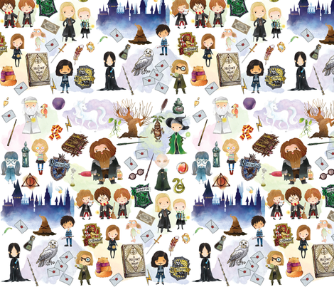 Doodle Potter fabric by boeyemadore on Spoonflower - custom fabric