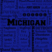 Michigan cities, blue