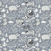 Gray arctic animals