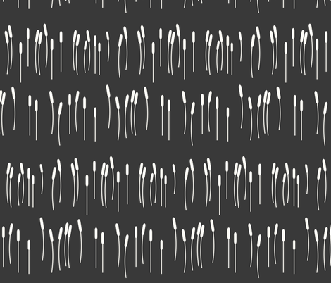 Reeds - grass lake spring white on graphite fabric by sunny_afternoon on Spoonflower - custom fabric