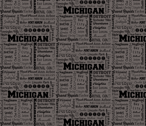 Michigan cities,  gray fabric by svester on Spoonflower - custom fabric