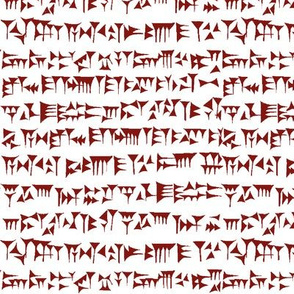 Babylonian Cuneiform in Maroon // Small