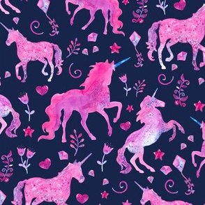 Pink Unicorns on Navy