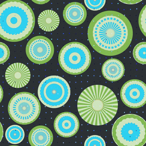 Pastel circles (green and blue)