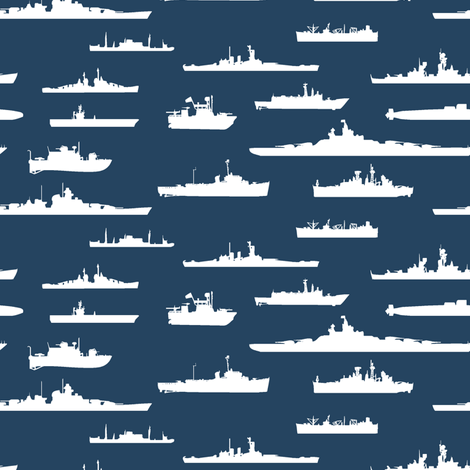 White Fleet // Navy Blue fabric by thinlinetextiles on Spoonflower - custom fabric