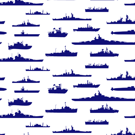 Blue Fleet fabric by thinlinetextiles on Spoonflower - custom fabric