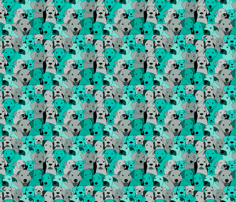 Dogs are compassionate teal fabric by alexsan on Spoonflower - custom fabric