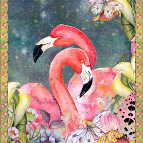GYPSY FLAMINGOS LOVE 2 PER YARD PANEL 3 teal WATERCOLOR