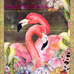 GYPSY FLAMINGO COUPLE 2 PER YARD PANEL 2 BURGUNDY BROWN STARRY SKY BACKGROUND FEATHERS BOHO BOHEMIAN BIRD FLOWERS