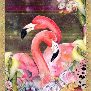 GYPSY FLAMINGO COUPLE 2 PER YARD PANEL 2 BURGUNDY BROWN STARRY SKY BACKGROUND FEATHERS BOHO BOHEMIAN BIRD FLOWERS