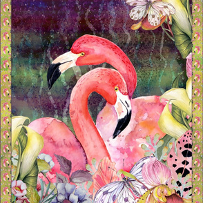 GYPSY FLAMINGO LOVE 2 PER YARD PANEL 1 WAVY glowing BACKGROUND FEATHERS BOHO BOHEMIAN BIRD FLOWERS