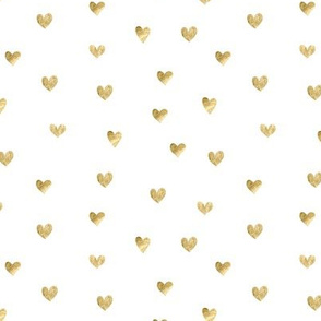 Gold hearts. White pattern