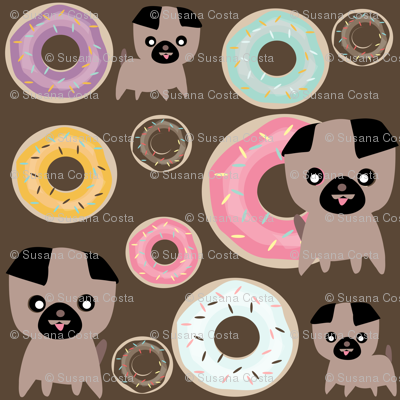 pug and donuts Chocolate