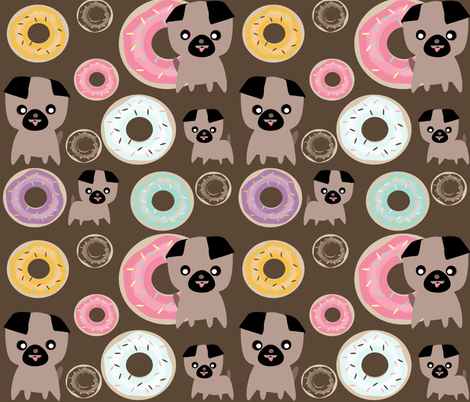 pug and donuts Chocolate  fabric by bruxamagica on Spoonflower - custom fabric
