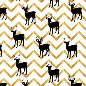 Cute deer. Black and gold