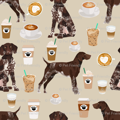 german shorthaired pointer coffee (Smaller) fabric design cute dogs fabric dog design