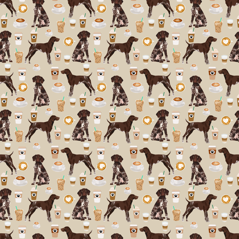german shorthaired pointer coffee (Smaller) fabric design cute dogs fabric dog design fabric by petfriendly on Spoonflower - custom fabric