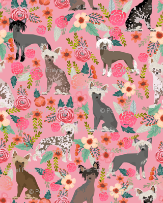 chinese crested (Smaller) dog cute pink florals flowers dog fabric girly sweet hairless dogs
