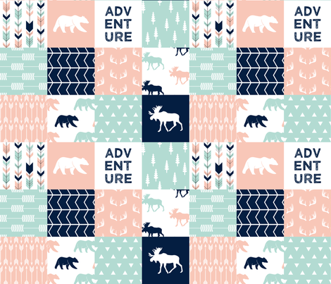 adventure woodland wholecloth || light coral, dark mint, navy  fabric by littlearrowdesign on Spoonflower - custom fabric