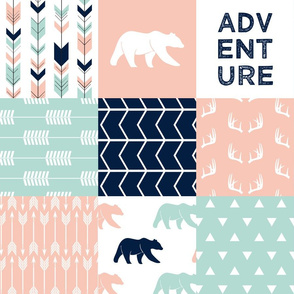 adventure woodland wholecloth || light coral, dark mint, navy
