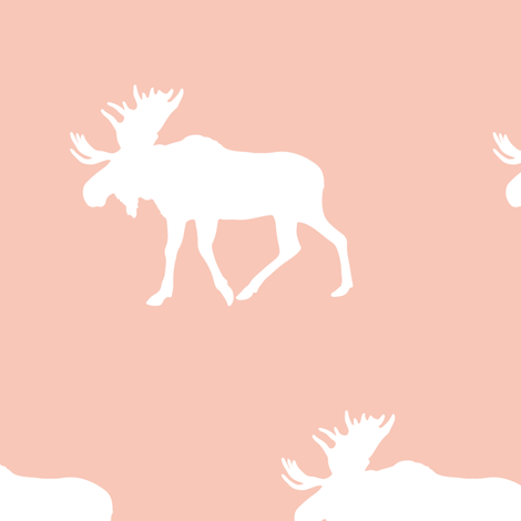 (jumbo scale) moose on light coral fabric by littlearrowdesign on Spoonflower - custom fabric