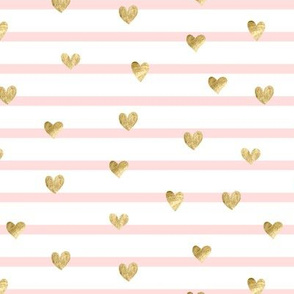 Gold hearts. Striped pattern