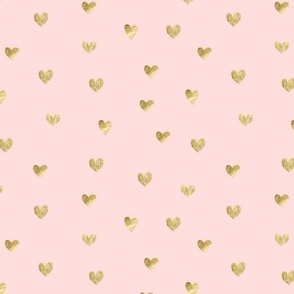 Gold and pink pattern. Hearts