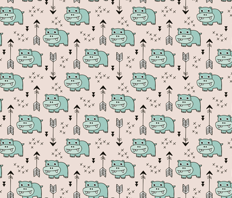 Cute little baby hippo kids fabric design in mint fabric for Cute baby fabric