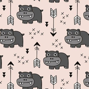 Cute little baby hippo kids fabric design in beige