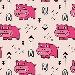 Cute little baby hippo kids fabric design in pink