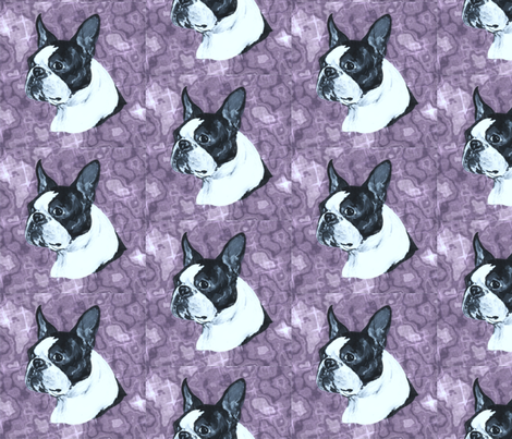 boston head on mauve marble fabric by bow_lady_design on Spoonflower - custom fabric