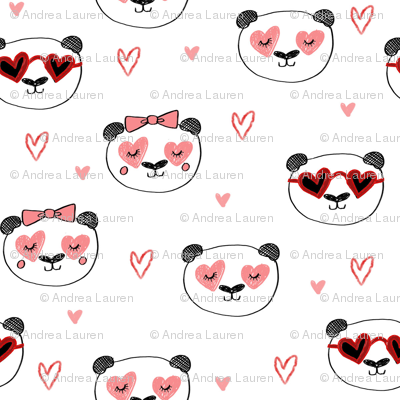 da valentines // love panda head hearts animal valentine's day fabric white pink