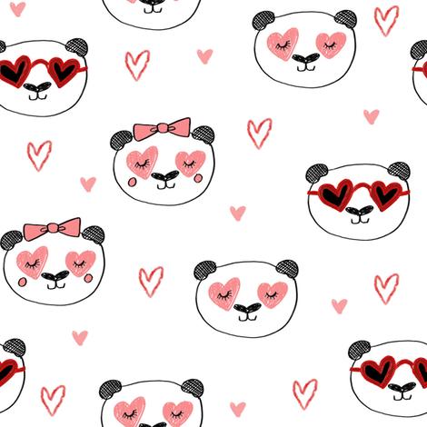 da valentines // love panda head hearts animal valentine's day fabric white pink fabric by andrea_lauren on Spoonflower - custom fabric