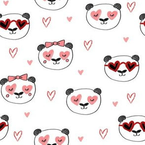 da valentines // love panda head hearts animal valentine's day fabric white pink