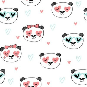 da valentines // love panda head hearts animal valentine's day fabric white mint