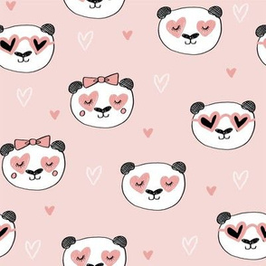 da valentines // love panda head hearts animal valentine's day fabric blush