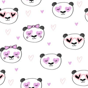da valentines // love panda head hearts animal valentine's day fabric white