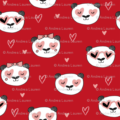 da valentines // love panda head hearts animal valentine's day fabric red