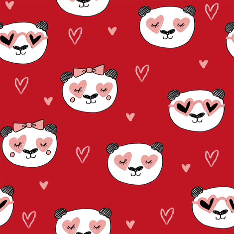da valentines // love panda head hearts animal valentine's day fabric red fabric by andrea_lauren on Spoonflower - custom fabric