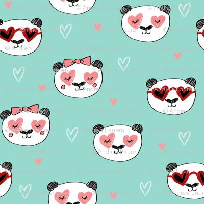 panda valentines // love panda head hearts animal valentine's day fabric mint