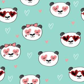 panda valentines // love panda head hearts animal valentine's day fabric mint