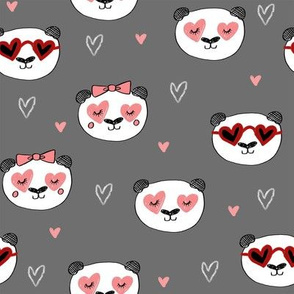 panda valentines // love panda head hearts animal valentine's day fabric grey