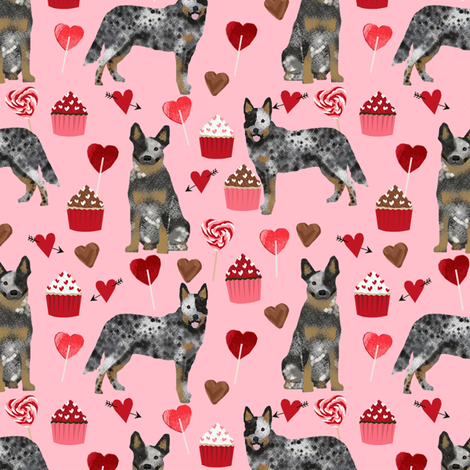 australian cattle dog blue coat valentines love hearts dog breed fabric pink fabric by petfriendly on Spoonflower - custom fabric